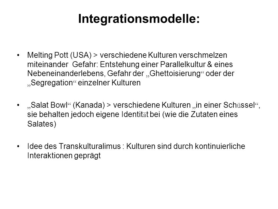Integrationsmodelle: