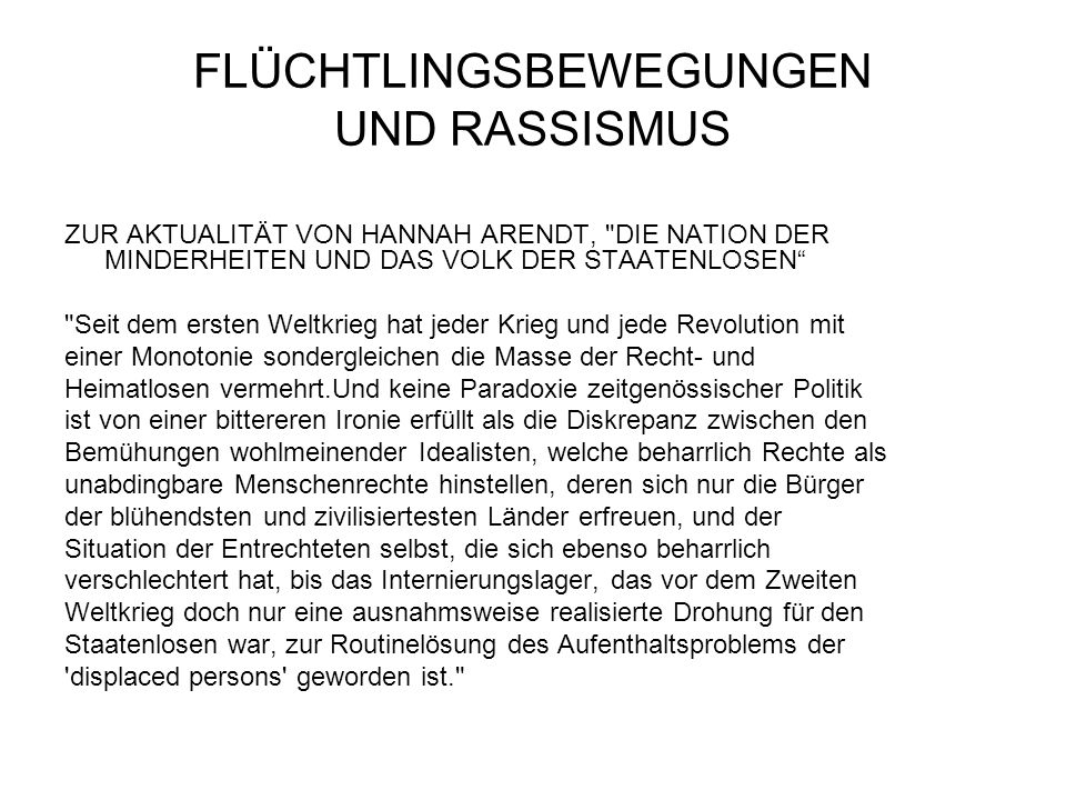 FLÜCHTLINGSBEWEGUNGEN UND RASSISMUS