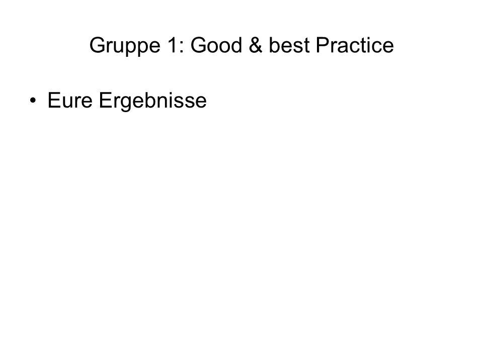 Gruppe 1: Good & best Practice