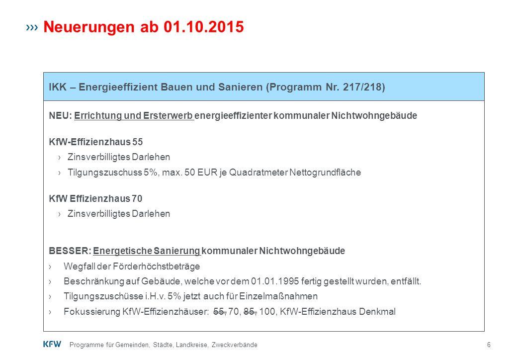 Neuerungen ab 01.10.2015 IKK – Energieeffizient Bauen und Sanieren (Programm Nr. 217/218)