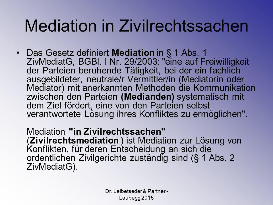 Mediation in Zivilrechtssachen