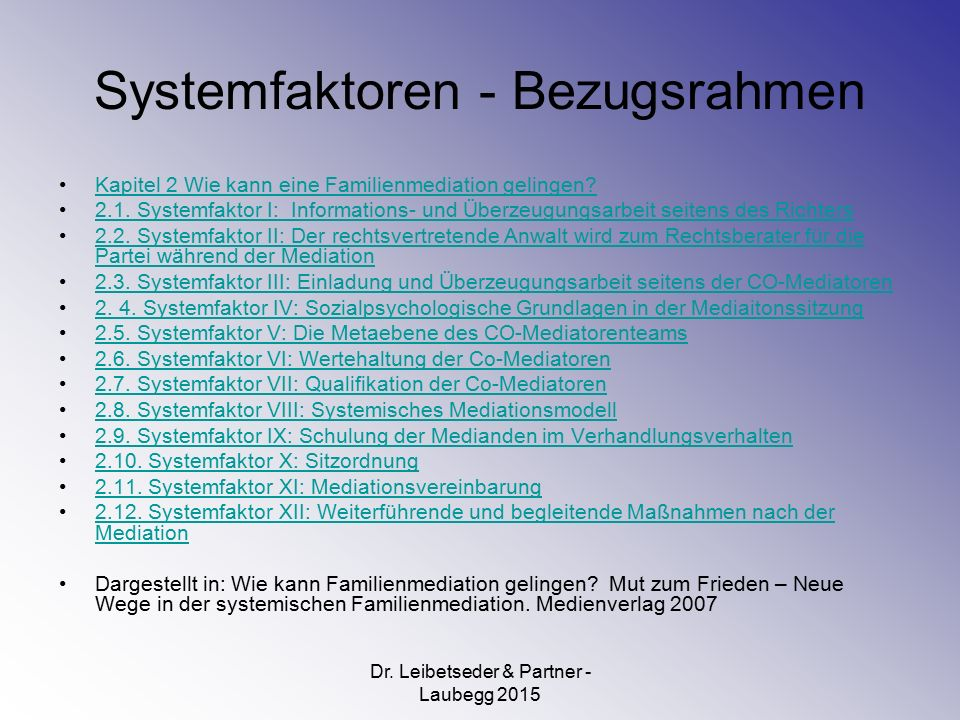 Systemfaktoren - Bezugsrahmen