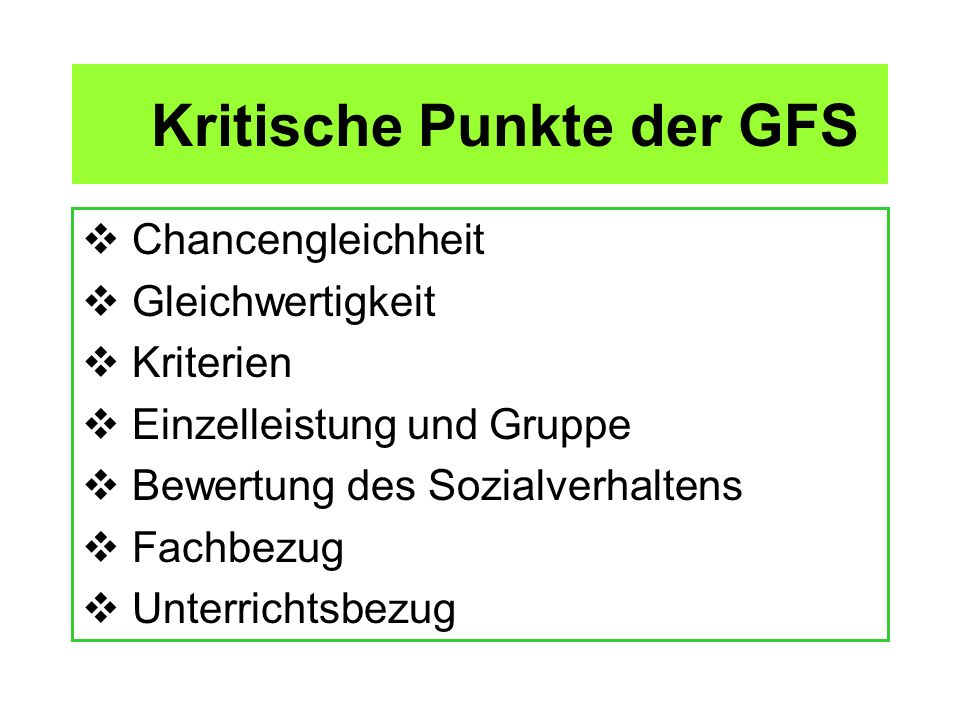 Kritische Punkte der GFS