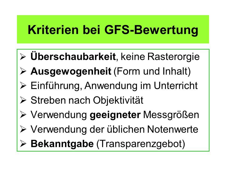 Kriterien bei GFS-Bewertung