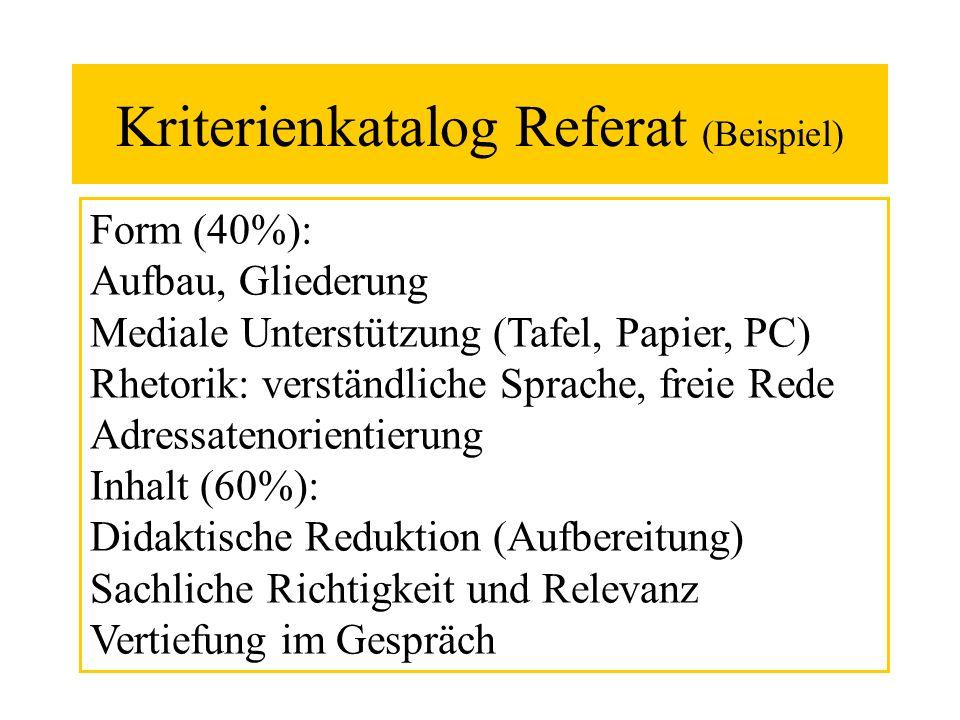 Kriterienkatalog Referat (Beispiel)