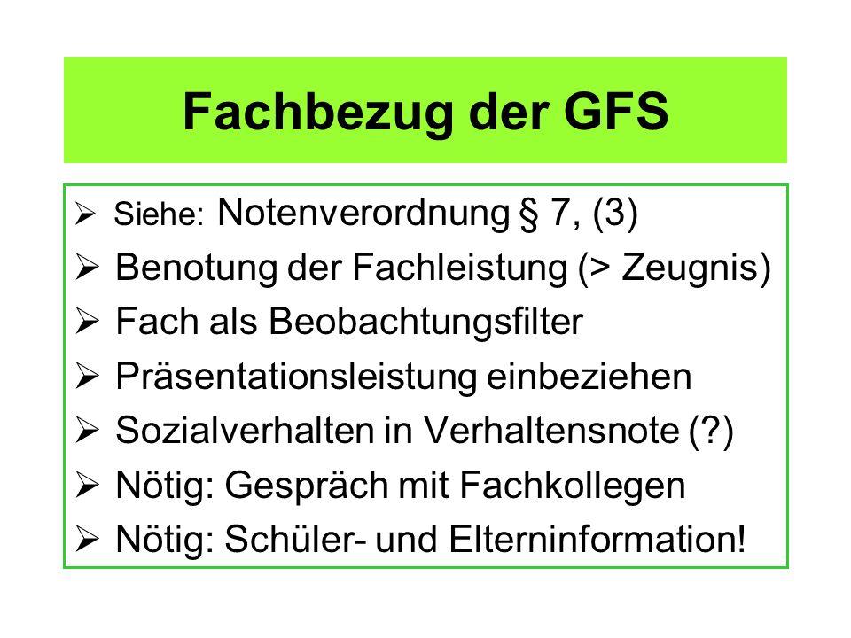 Fachbezug der GFS Benotung der Fachleistung (> Zeugnis)
