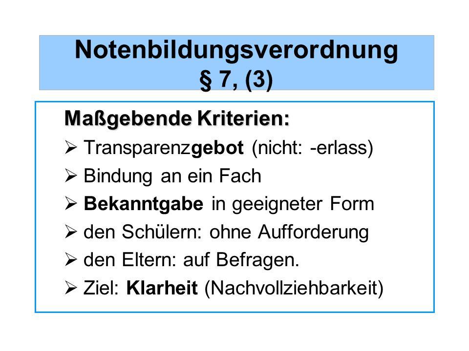 Notenbildungsverordnung § 7, (3)
