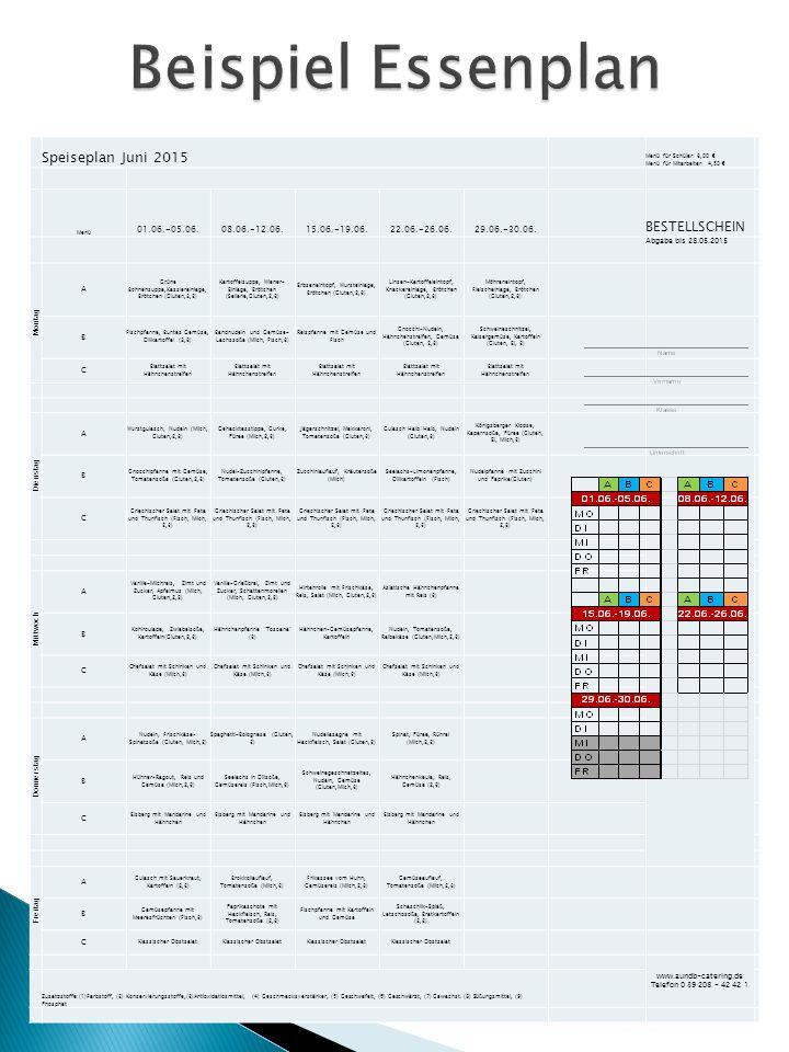 Beispiel Essenplan Speiseplan Juni 2015 BESTELLSCHEIN 01.06.-05.06.