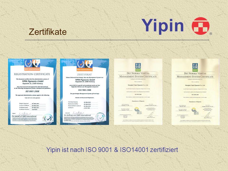 Zertifikate Yipin ist nach ISO 9001 & ISO14001 zertifiziert