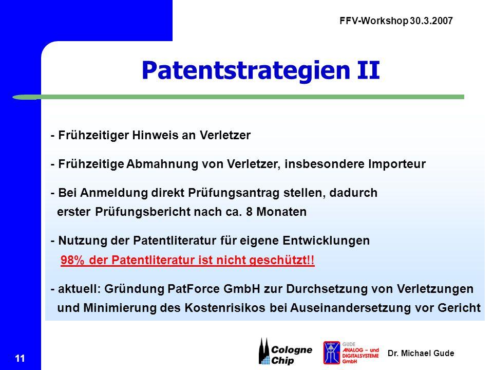 Patentstrategien II - Frühzeitiger Hinweis an Verletzer