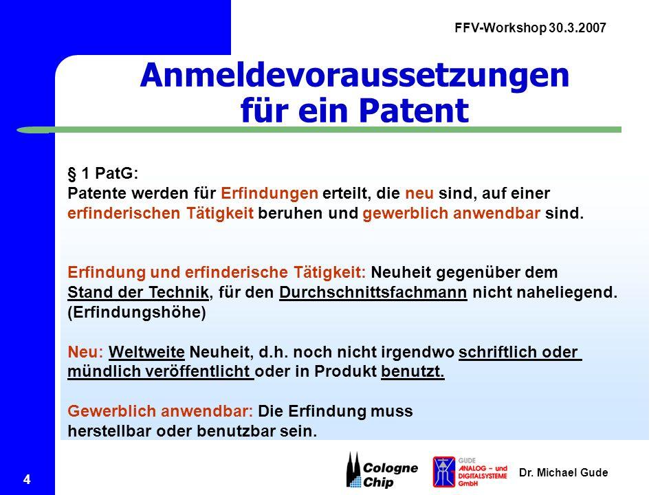 Anmeldevoraussetzungen für ein Patent