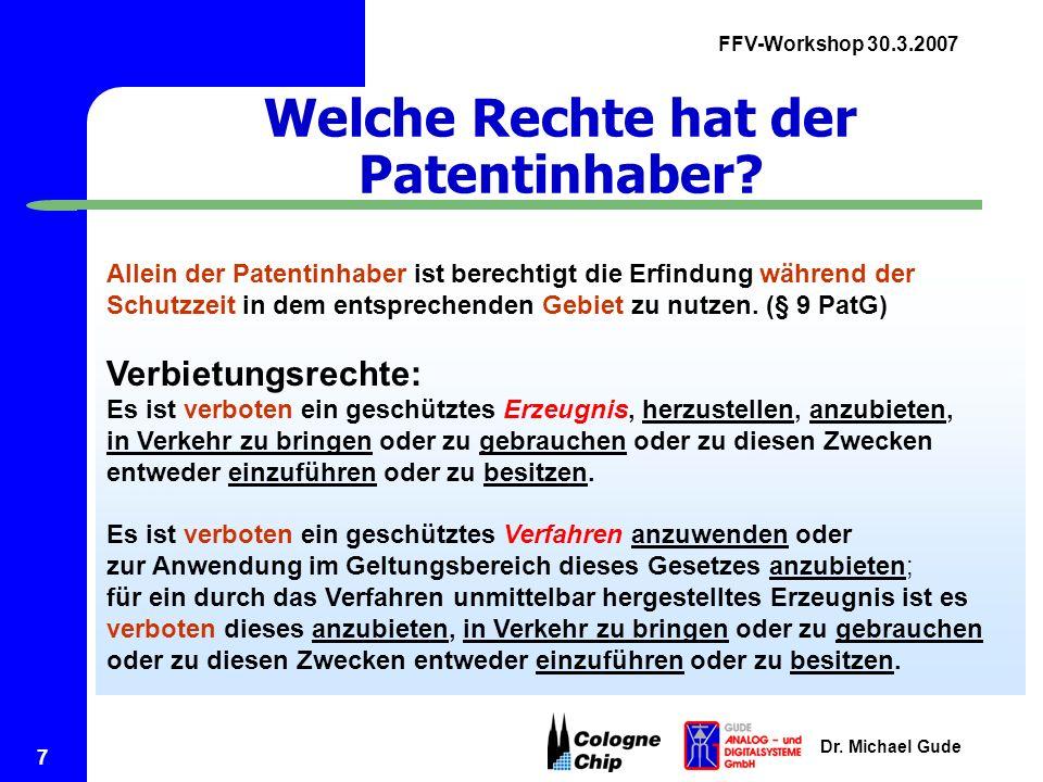Welche Rechte hat der Patentinhaber