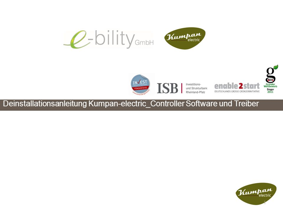 Deinstallationsanleitung Kumpan-electric_Controller Software und Treiber