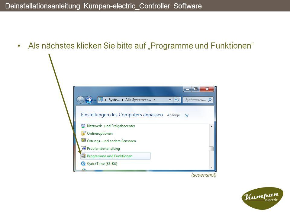 """Als nächstes klicken Sie bitte auf """"Programme und Funktionen"""