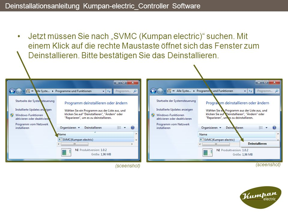 Deinstallationsanleitung Kumpan-electric_Controller Software