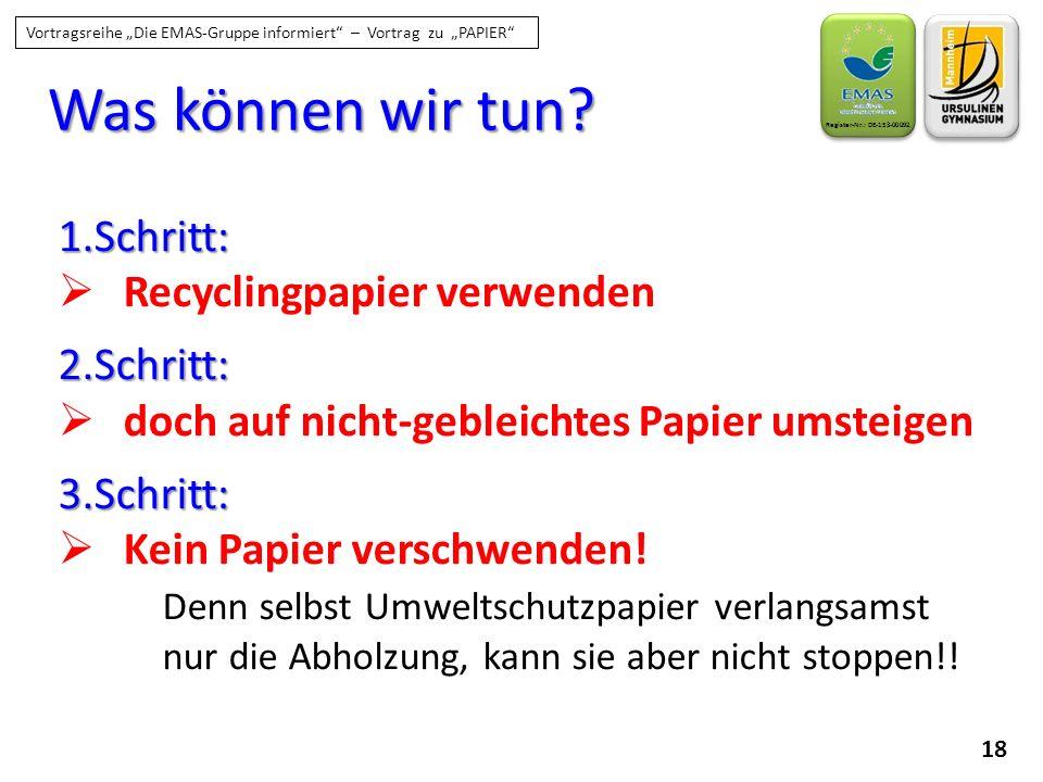 Was können wir tun 1.Schritt: Recyclingpapier verwenden 2.Schritt: