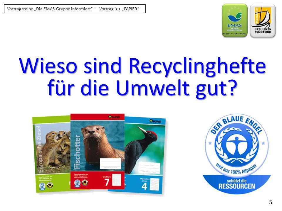 Wieso sind Recyclinghefte für die Umwelt gut