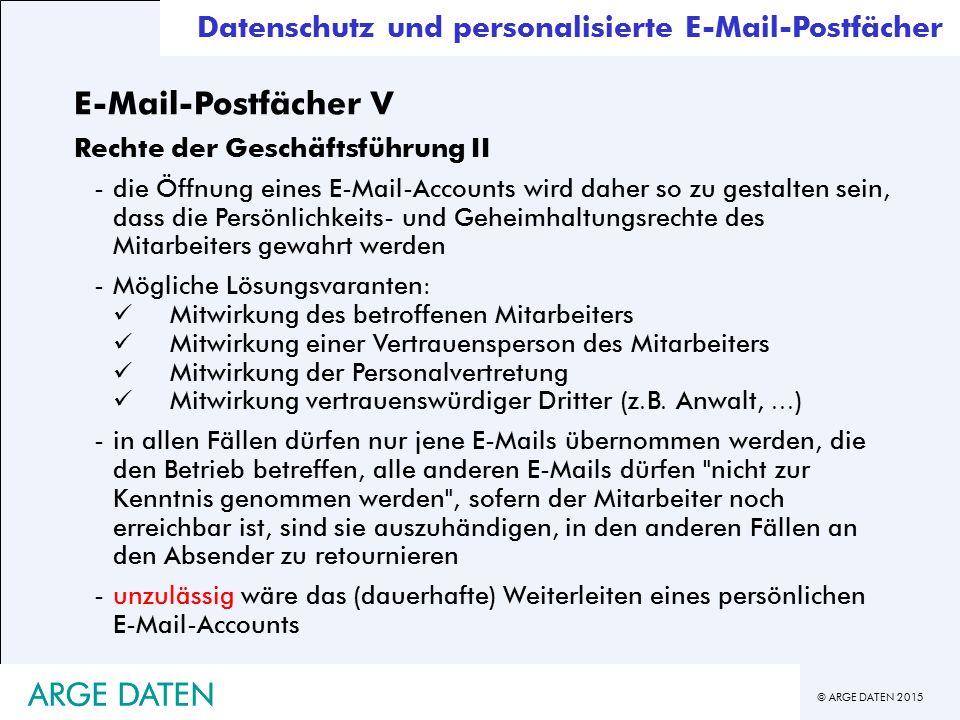 E-Mail-Postfächer V ARGE DATEN ARGE DATEN