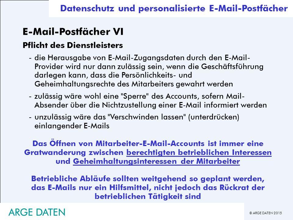 E-Mail-Postfächer VI ARGE DATEN ARGE DATEN