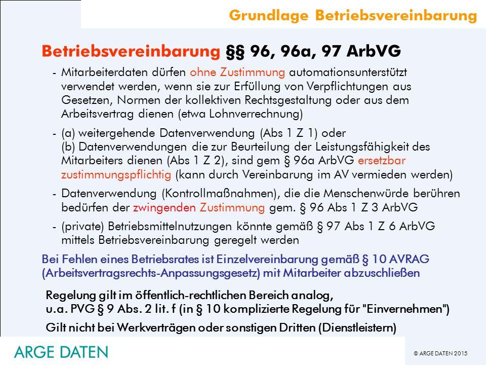 Betriebsvereinbarung §§ 96, 96a, 97 ArbVG