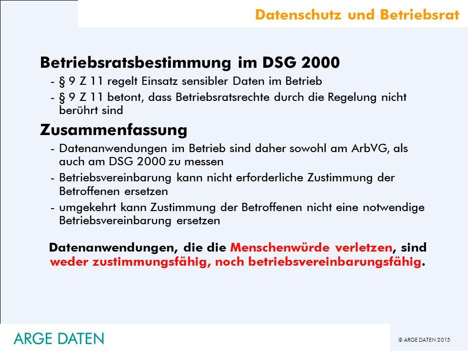 Betriebsratsbestimmung im DSG 2000