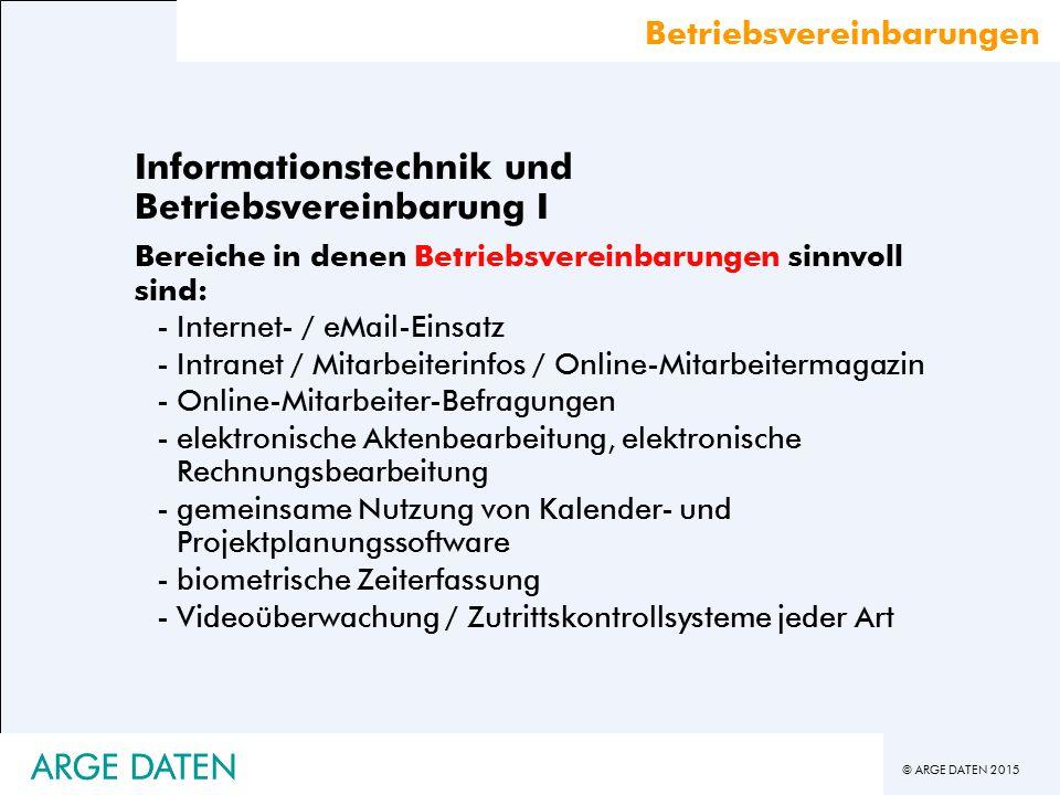 Informationstechnik und Betriebsvereinbarung I