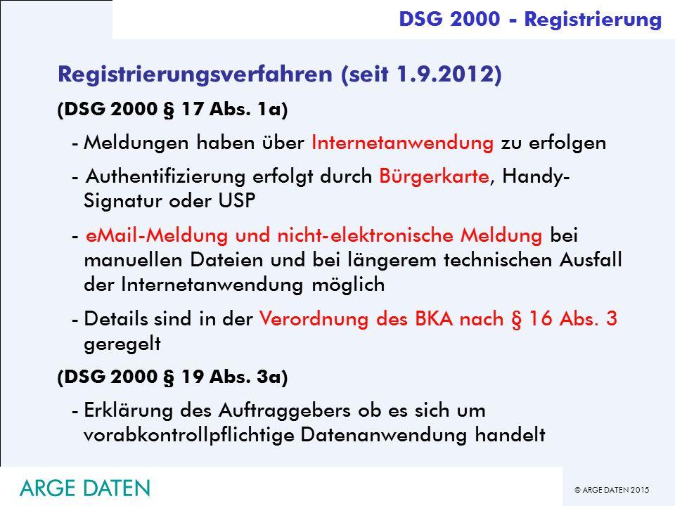 Registrierungsverfahren (seit 1.9.2012)