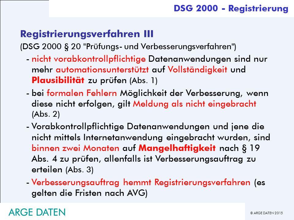 Registrierungsverfahren III