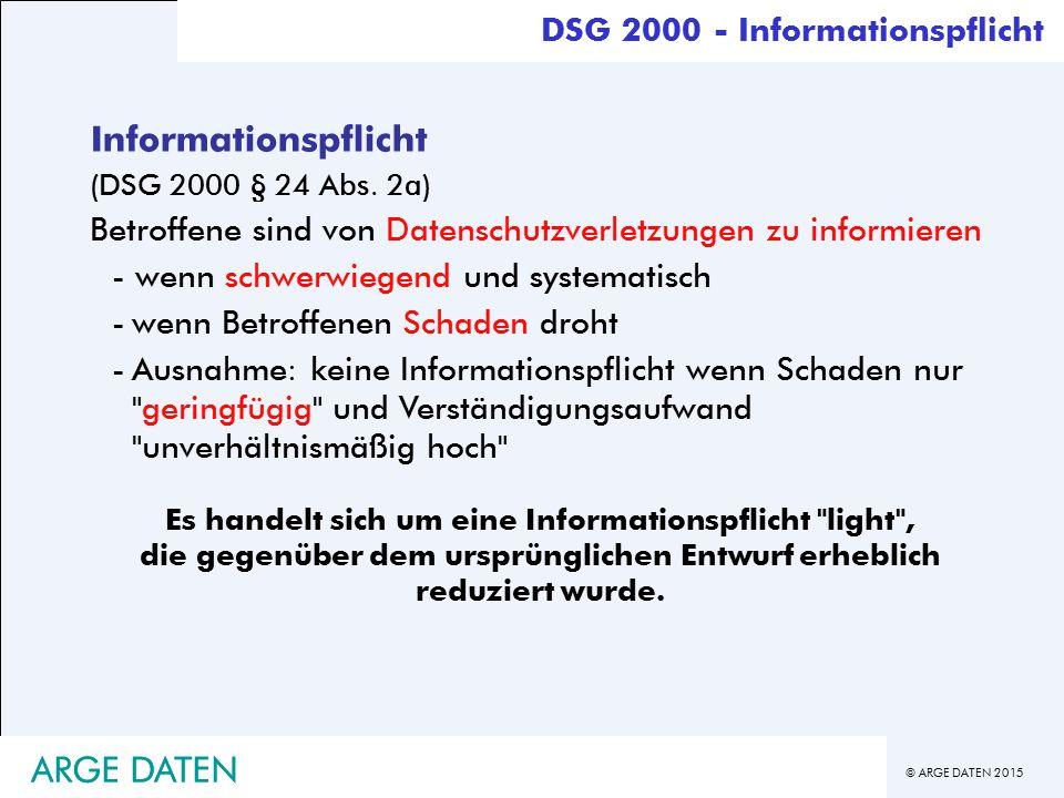 Informationspflicht ARGE DATEN ARGE DATEN