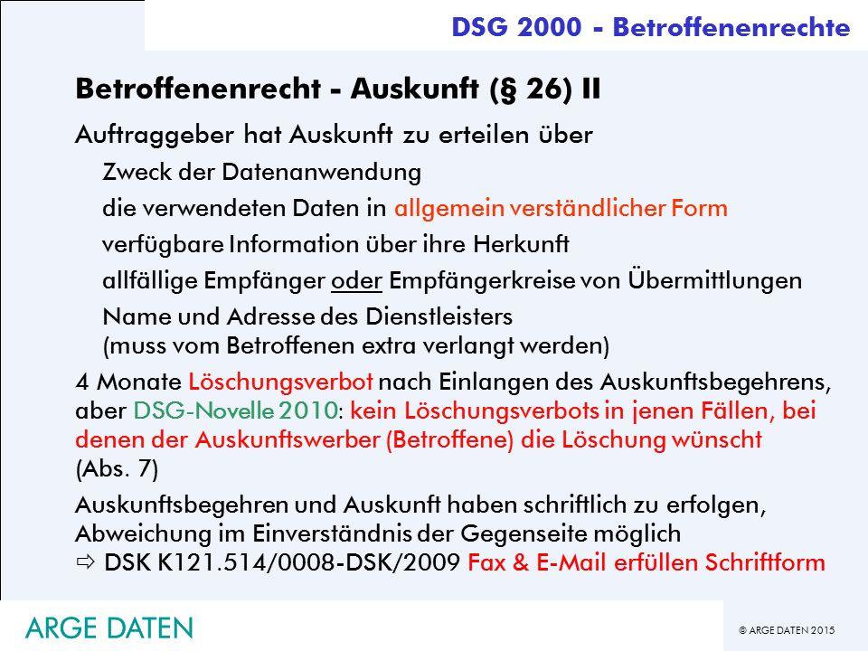 Betroffenenrecht - Auskunft (§ 26) II