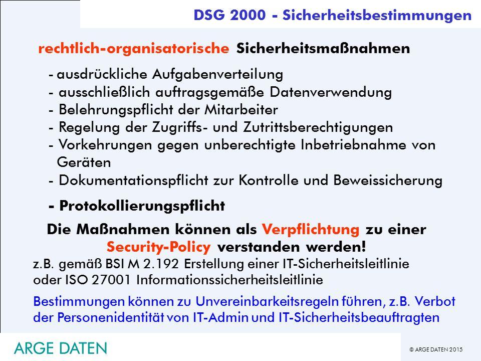 ARGE DATEN ARGE DATEN DSG 2000 - Sicherheitsbestimmungen