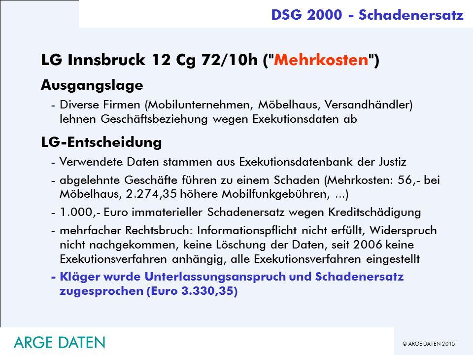 LG Innsbruck 12 Cg 72/10h ( Mehrkosten )