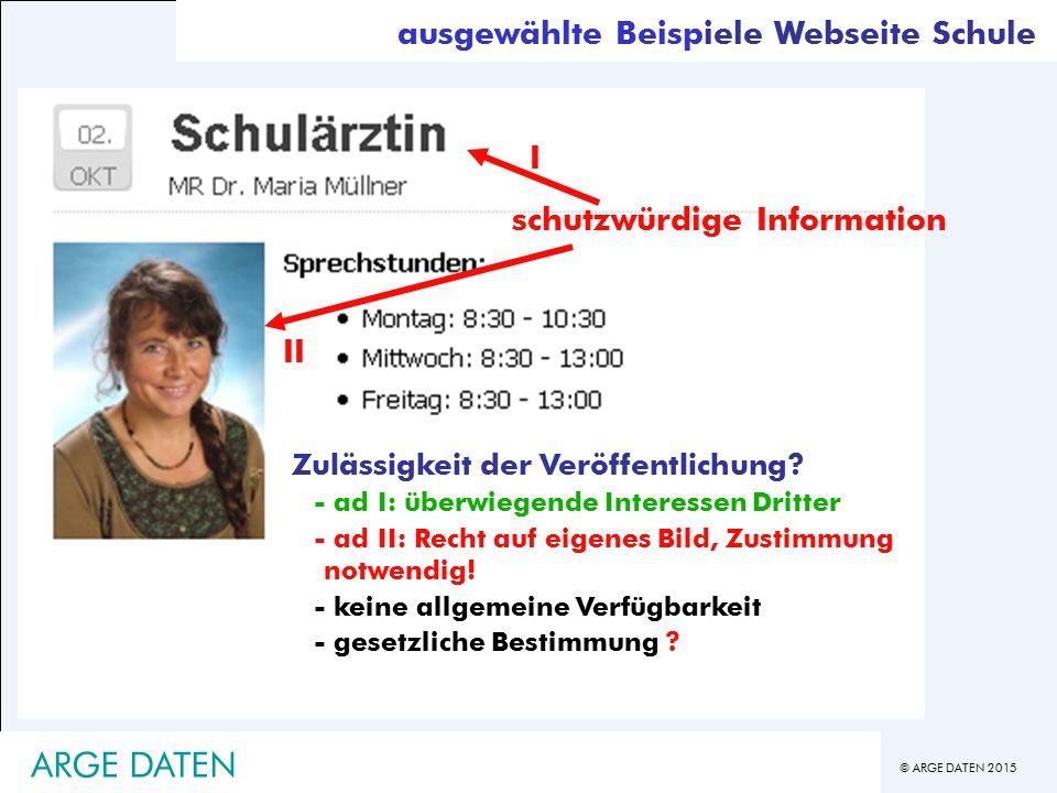 - ARGE DATEN ausgewählte Beispiele Webseite Schule I