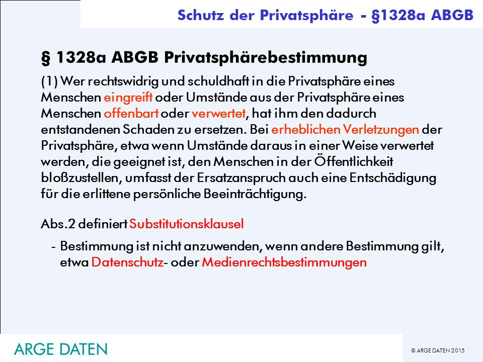 § 1328a ABGB Privatsphärebestimmung