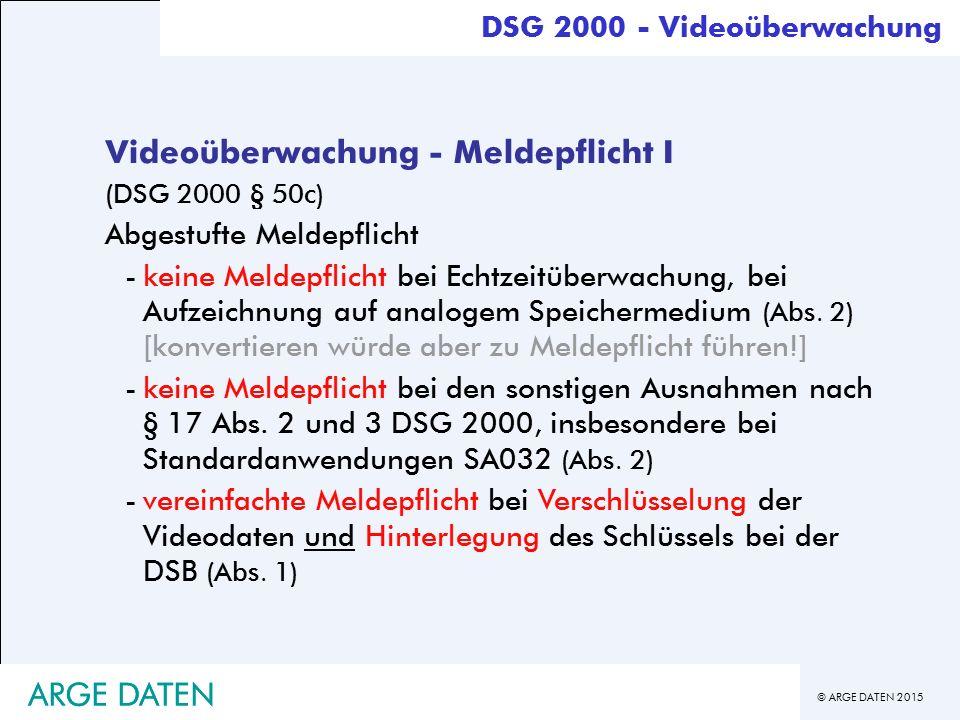 Videoüberwachung - Meldepflicht I