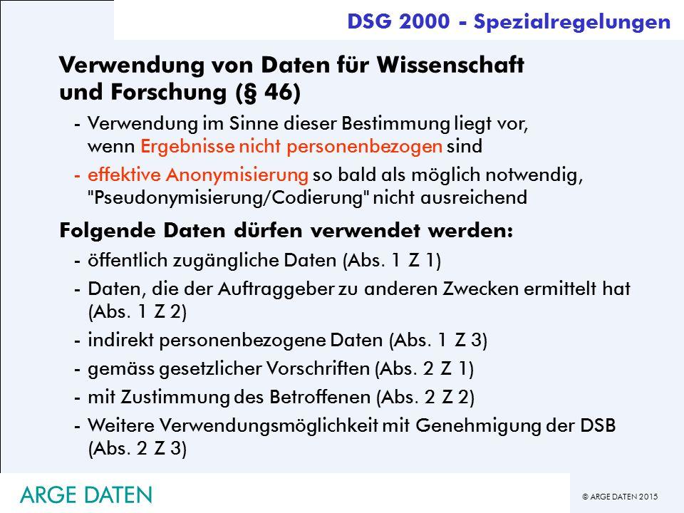 Verwendung von Daten für Wissenschaft und Forschung (§ 46)