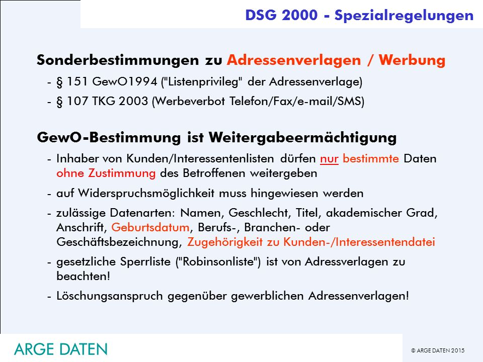ARGE DATEN ARGE DATEN DSG 2000 - Spezialregelungen