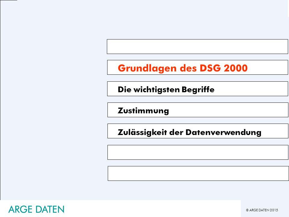 Grundlagen des DSG 2000 ARGE DATEN ARGE DATEN Die wichtigsten Begriffe