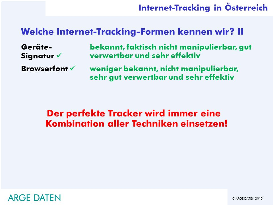 Welche Internet-Tracking-Formen kennen wir II