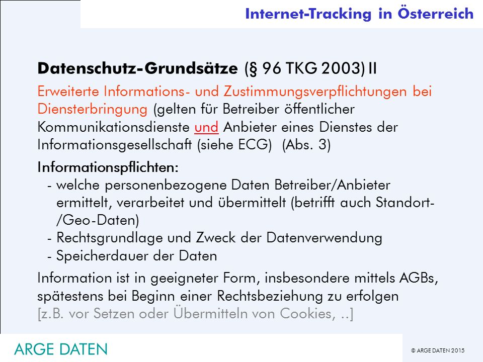Datenschutz-Grundsätze (§ 96 TKG 2003) II