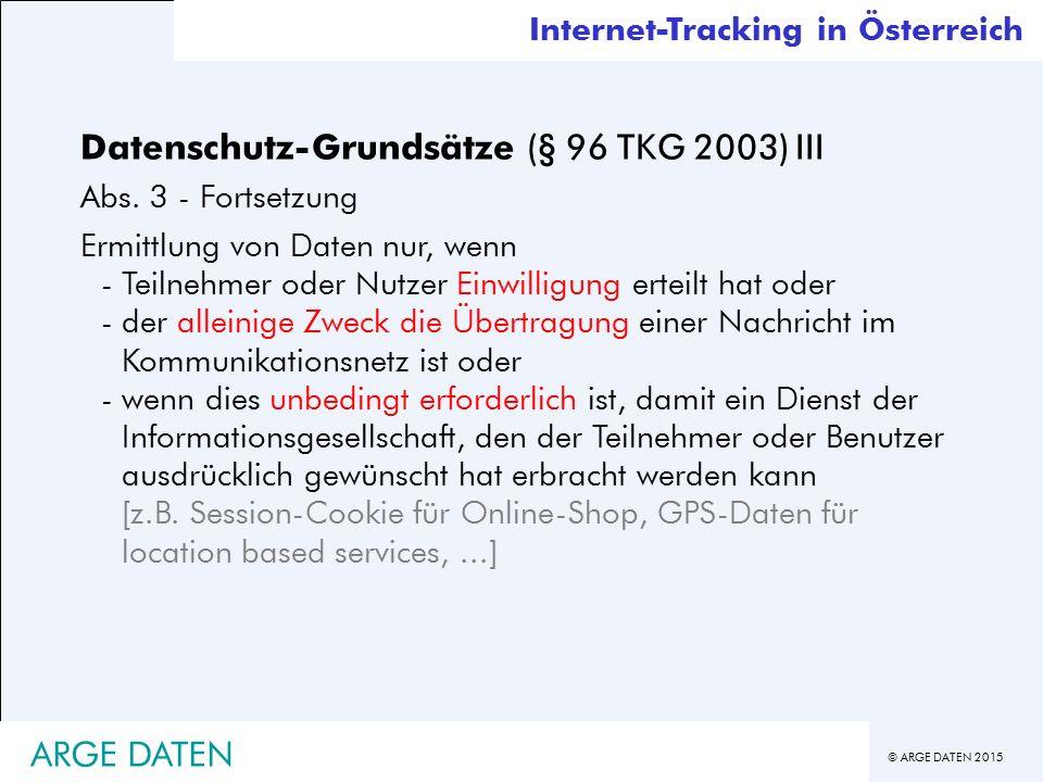 Datenschutz-Grundsätze (§ 96 TKG 2003) III