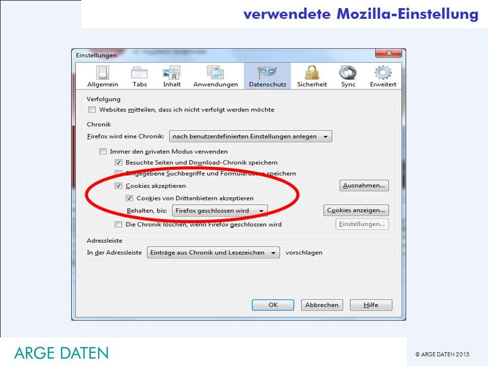verwendete Mozilla-Einstellung