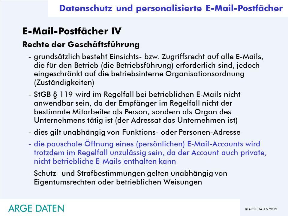 E-Mail-Postfächer IV ARGE DATEN ARGE DATEN