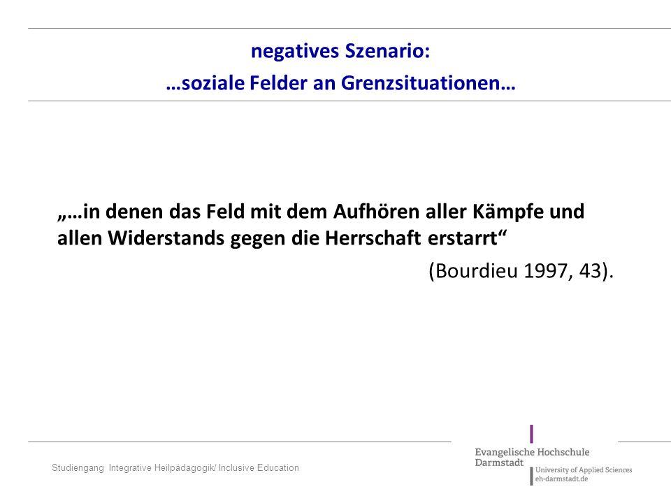negatives Szenario: …soziale Felder an Grenzsituationen…