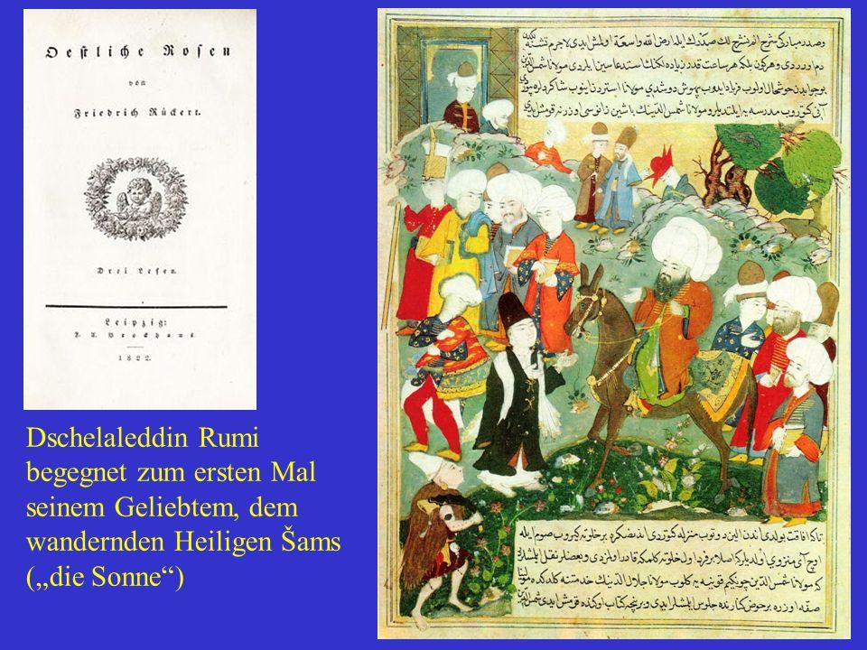 """Dschelaleddin Rumi begegnet zum ersten Mal seinem Geliebtem, dem wandernden Heiligen Šams (""""die Sonne )"""