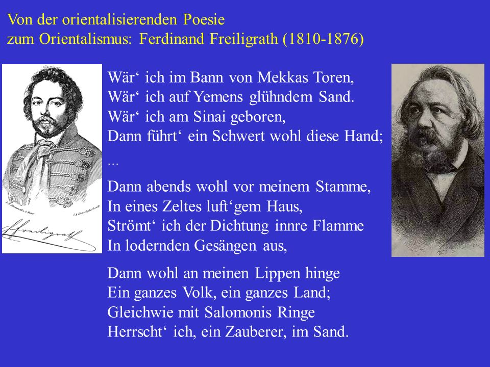 Von der orientalisierenden Poesie