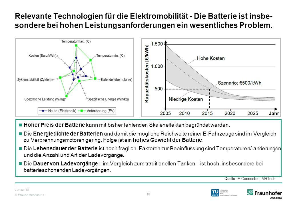 Relevante Technologien für die Elektromobilität - Die Batterie ist insbe-sondere bei hohen Leistungsanforderungen ein wesentliches Problem.