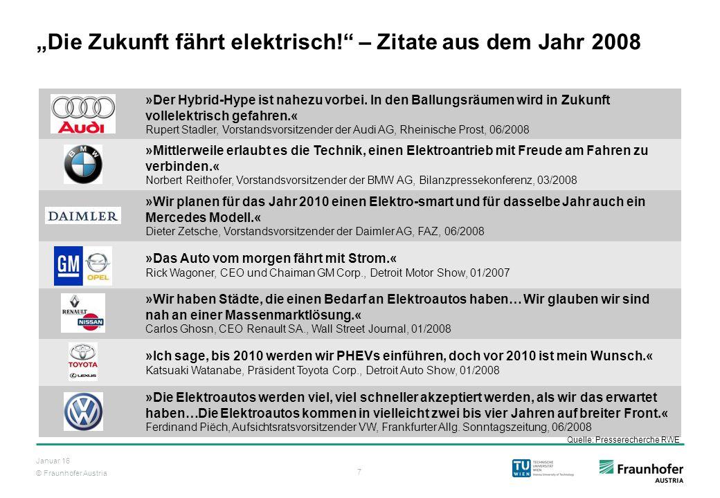 """""""Die Zukunft fährt elektrisch! – Zitate aus dem Jahr 2008"""