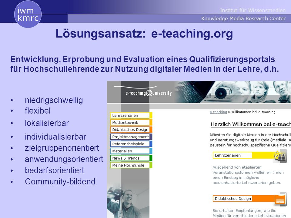 Lösungsansatz: e-teaching.org
