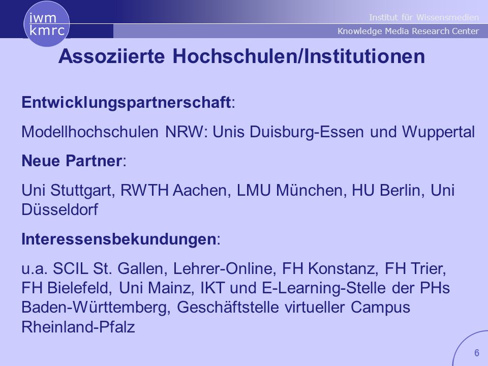 Assoziierte Hochschulen/Institutionen